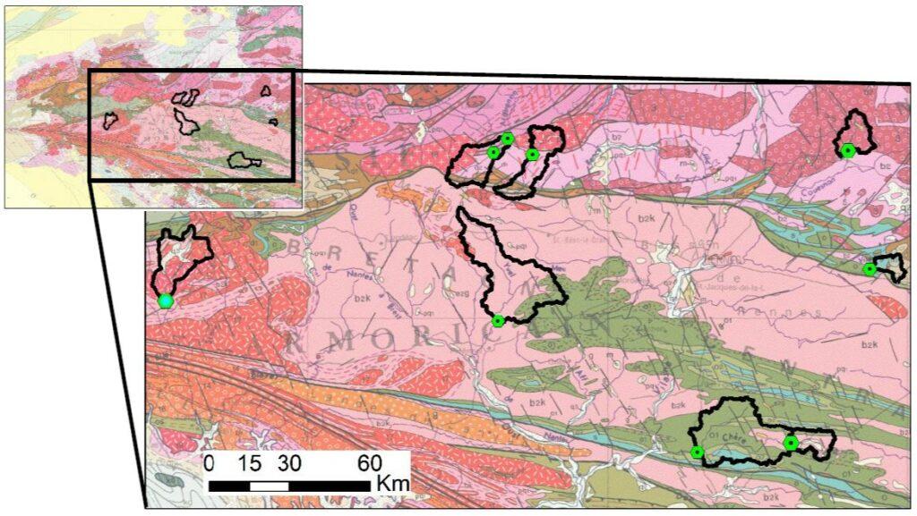 Carte geologique et limite de bassin versant
