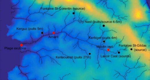 Carte de représentation de points de prélèvements qualité de l'eau