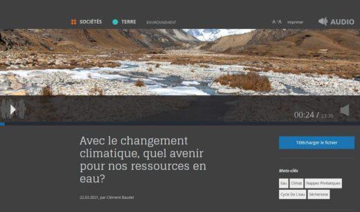 CNRS Audioconférence : changement climatique et ressources en eau